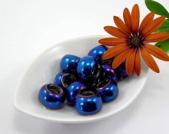 European beads 15 mm dark blue translucent glass set of 2