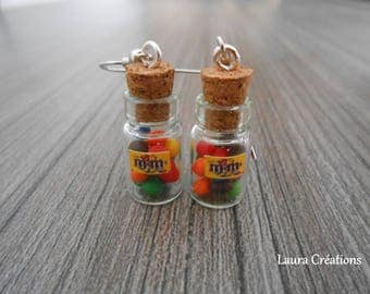 Candy colored vial earring