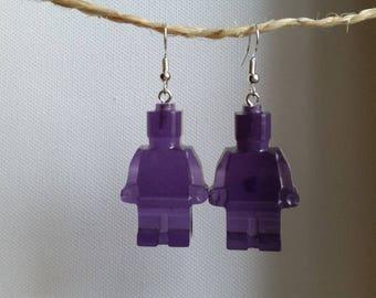 Earrings purple resin toy snowman