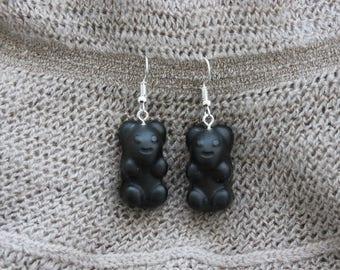 Black plastic ears candy gummy bears earrings