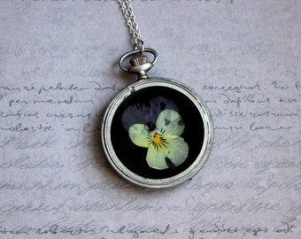 Necklace + genuine watch FOB (5cm), resin and Pansy purple yellow flower