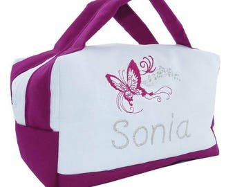 Toiletry bag personalized embroidered vanity Theme music scores and Butterfly