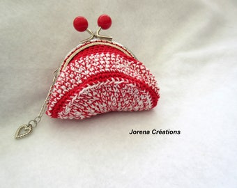 Red and red metal frame wallet Heather