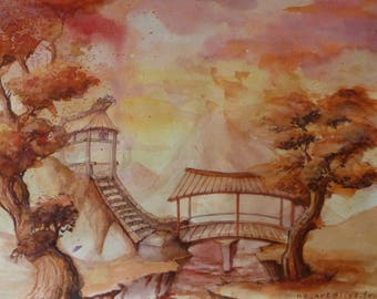 An imaginary Japanese landscape watercolor painting