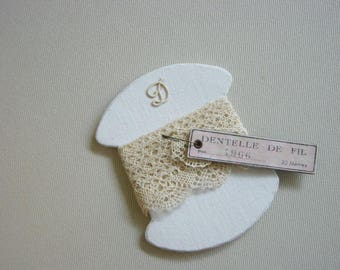 Cardboard with Ribbon or lace and old lace