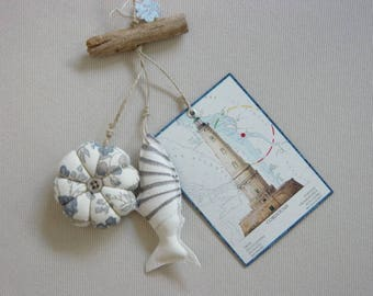 Decorative hanging Sea Urchin, sea, driftwood, fish