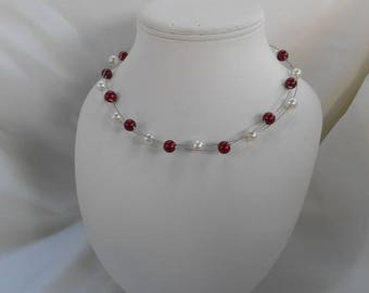 GABRIELLE ivory & Burgundy necklace