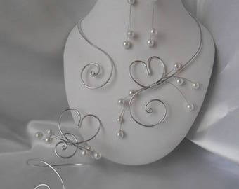 """White wedding 3 piece """"Love"""" with silver wire & beads set"""
