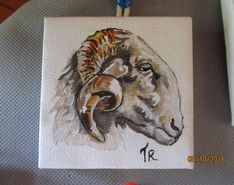 miniature painting animal RAM's head