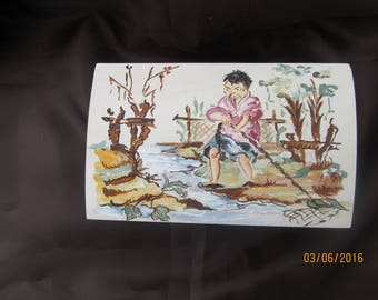 wooden box painted with acrylic representing a fisherman