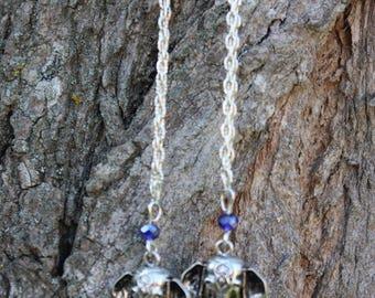 Blue elephant head earrings