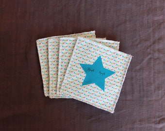 Set of 4 baby wipes star and flags