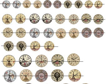 "Digital images ""Les clocks"" round 16-20-25 and 30mm"