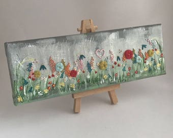 Misty Morning Garden (Extended Version) - Embroidery On Canvas - Miniature Art