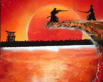 Samurai Sunset Spray Paint Picture