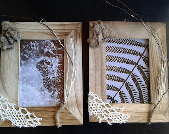 2 frames Photo, driftwood and seaweed