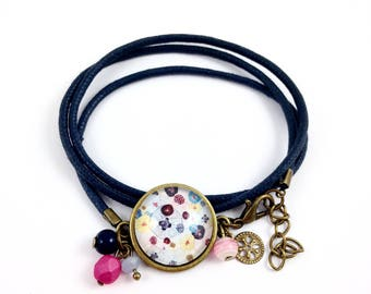 Blue bracelet * Cabochon * poppies * pink blue yellow