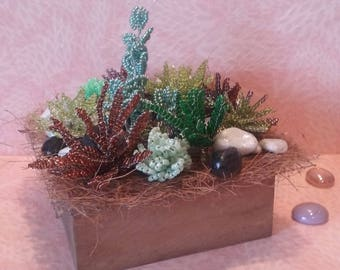 Composition of Succulents in seed beads