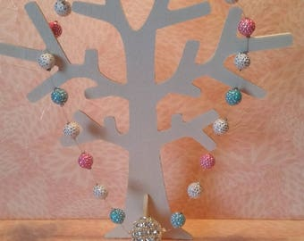 Necklace - Disco blue, white, pink