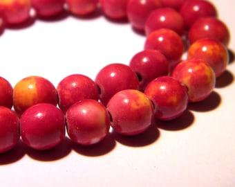 20 jade beads 6 mm - dark pink and mustard - gem stone - PG294-7
