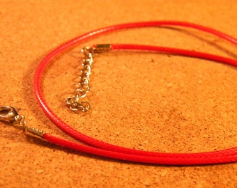 45 cm Choker - leather red AC6 waxed cotton