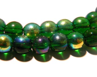 20 beads-glass - 8 mm metal and green glass-effect - AB G98 4 electroplated glass bead