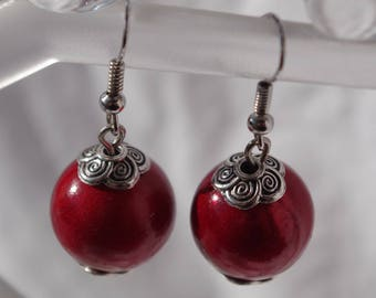 Red magic Pearl Earrings