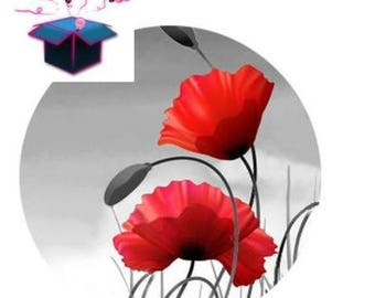 1 glass domed poppy 14 mm cabochon