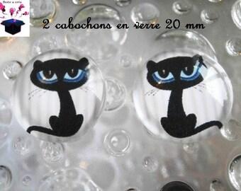 2 glass cabochons 20mm black cat theme