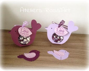 Christening boxes ball bird plum and lilac