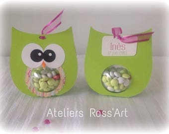 Box dragees OWL green OWL personalize