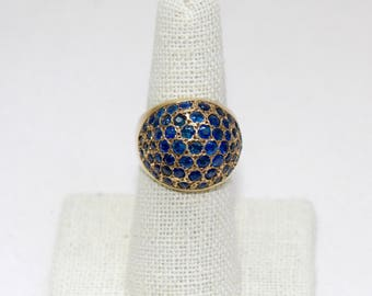 Vintage 14K Yellow Gold and Sapphire Dome Ring