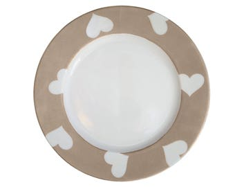 Mothers day plate hearts porcelain de Limoges painted by hand