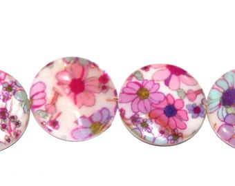Set of 4 25 mm hand painted Pearly shuffleboard beads