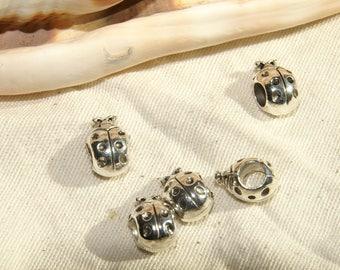 European beads X 5 Ladybug hole on the side Tibetan silver nickel free