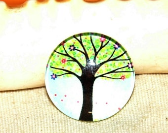 Round cabochon 1 X pattern: tree of life diameter 20 mm