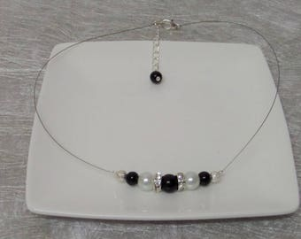 Wedding jewelry Choker necklace black and white pearls and rhinestones