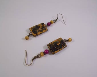 Bohemian dangle earrings made of cold porcelain