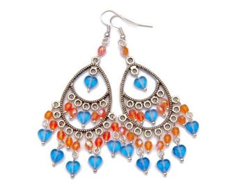 Long drop earrings blue orange