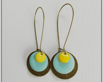 Earrings bronze ear and Mint sequins and yellow
