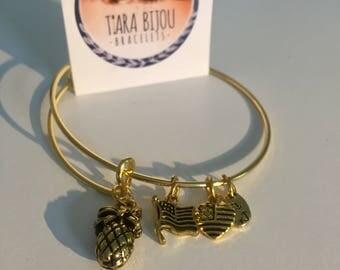 Pineapple Heart Charm Bracelet