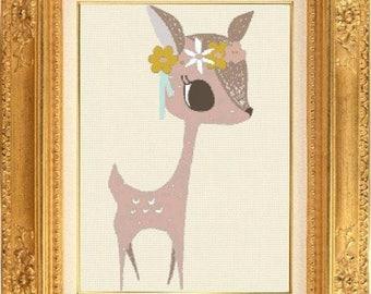 Counted cross stitch deer children