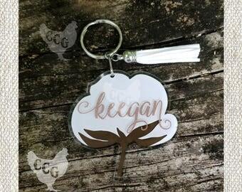 Cotton Boll Keychain - Monogram Cotton Boll Key chain
