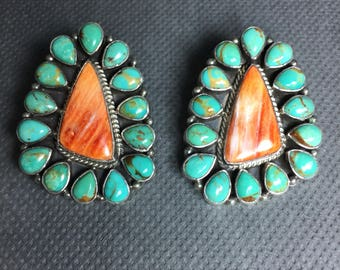 Tonya June Rafael Navajo Sterling Silver Turquoise and Spiny Oyster Earrings