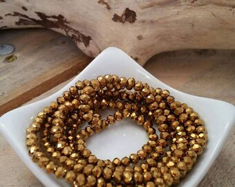50 glass beads with faceted Crystal metalic Gold 4mm