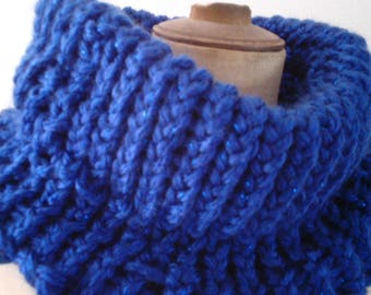 Snood knitted electric blue knitted XXL