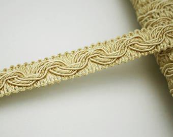 Lace light yellow gold, 15 mm, 1 m, Ribbon yellow gold finish, clear