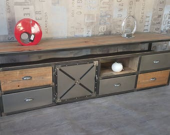 Cabinet industrial tv steel and solid wood