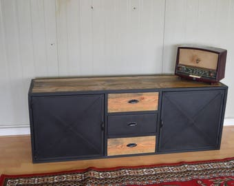 Industrial style TV cabinet 2 doors 3 steel drawers