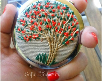Embroidery Pocket Mirror, Tree Embroided Handbag Purse Mirror, Compact Round Mirror with Red Flowers Embroidery, Embroided Hand Mirror